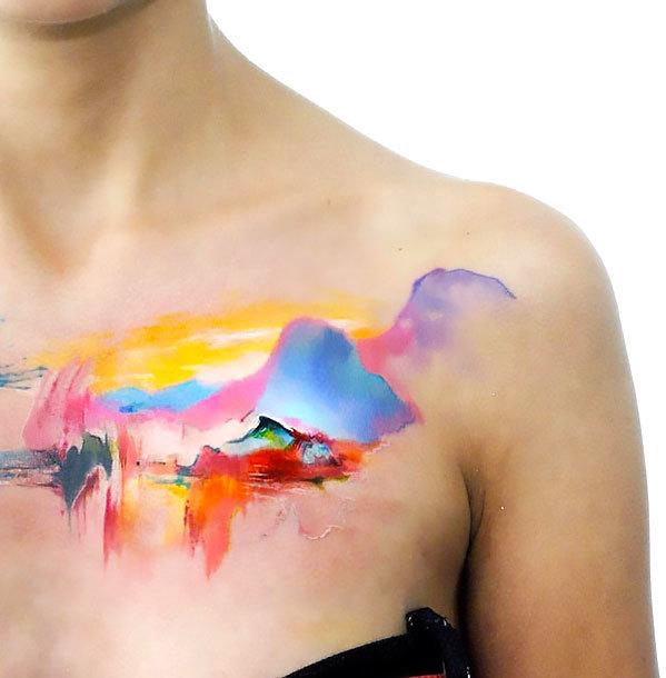 Watercolor Mountains Tattoo Idea