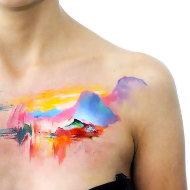 Watercolor Mountains Tattoo