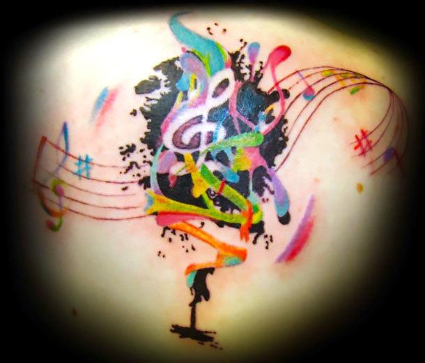 Watercolor Music Tattoo Idea