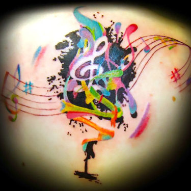Watercolor Music Tattoo