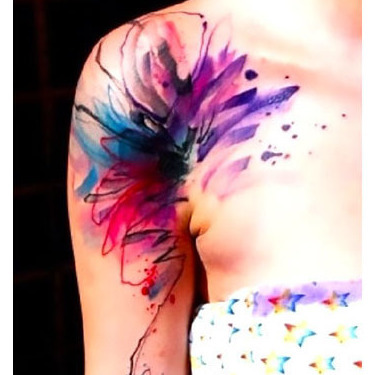 Watercolor Shoulder Tattoo