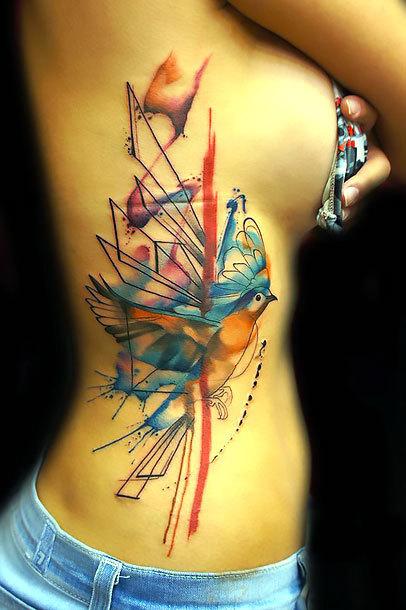 Watercolor Side Tattoo Idea