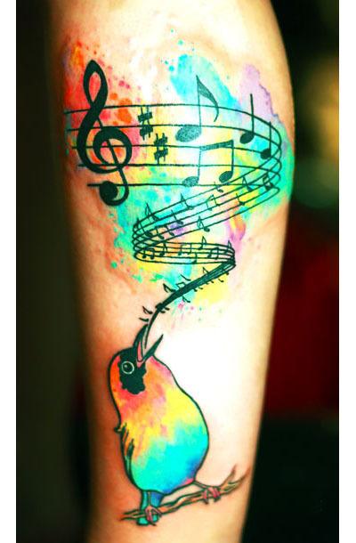 Watercolor Songbird Tattoo Idea