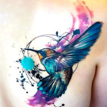 Amazing Splashy Hummingbird Tattoo