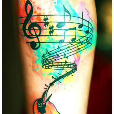 Watercolor Songbird Tattoo