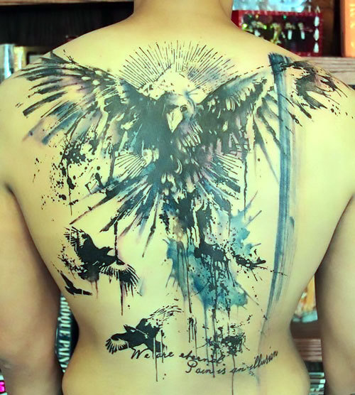 Watercolors Ravens on Back Tattoo Idea