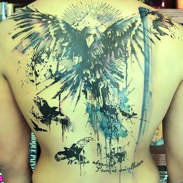 Watercolors Ravens on Back Tattoo