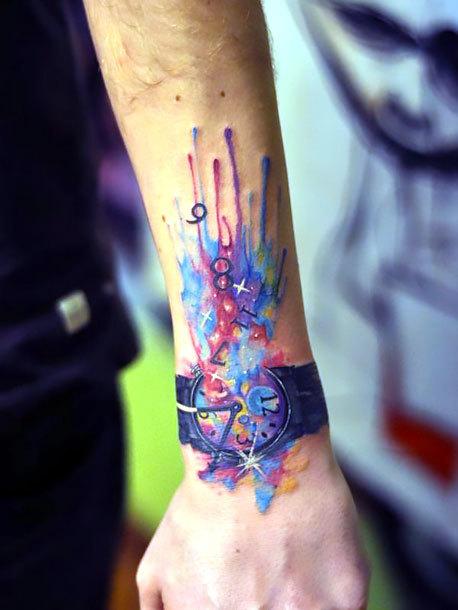 Watercolor Watch on Wrist Tattoo Idea