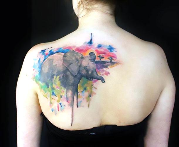 Amazing Watercolor Elephant Tattoo Idea