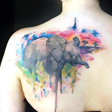 Amazing Watercolor Elephant Tattoo