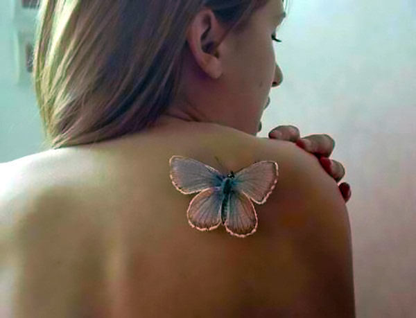 White Butterfly Tattoo Idea