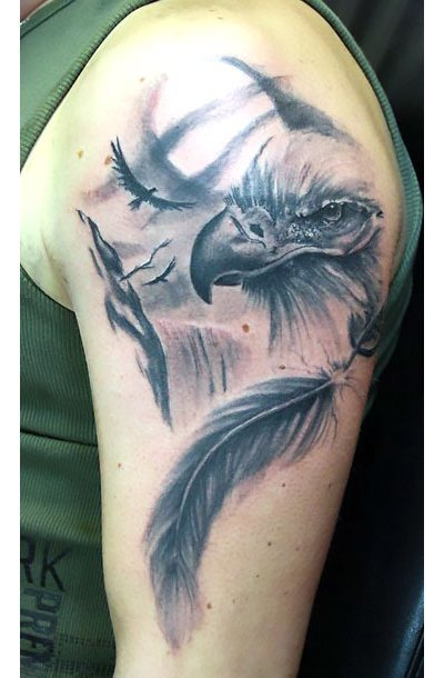 Eagle on Moon Background Tattoo Idea