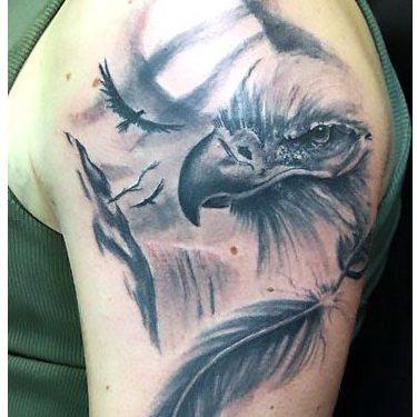 Eagle on Moon Background Tattoo