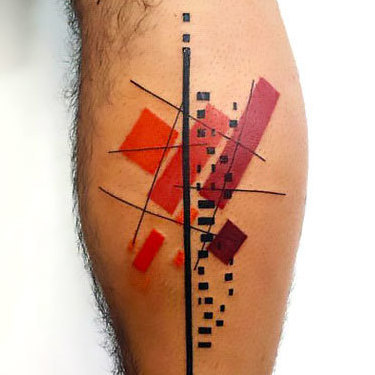 Geometric on Calf Tattoo