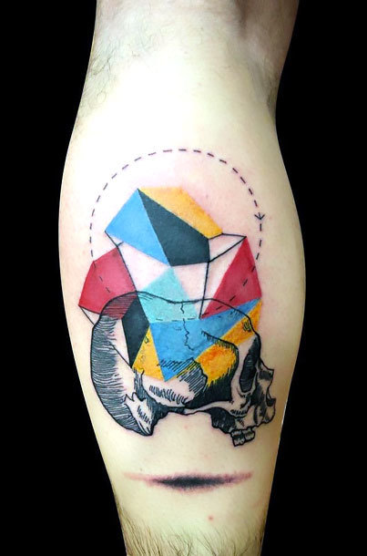 Geometric Skull Tattoo Idea