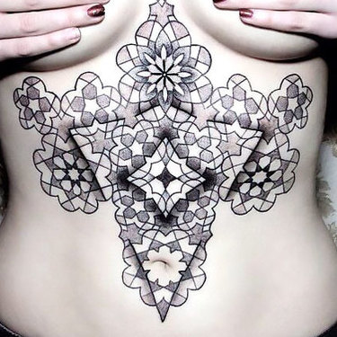 Abstract Stomach Tattoo