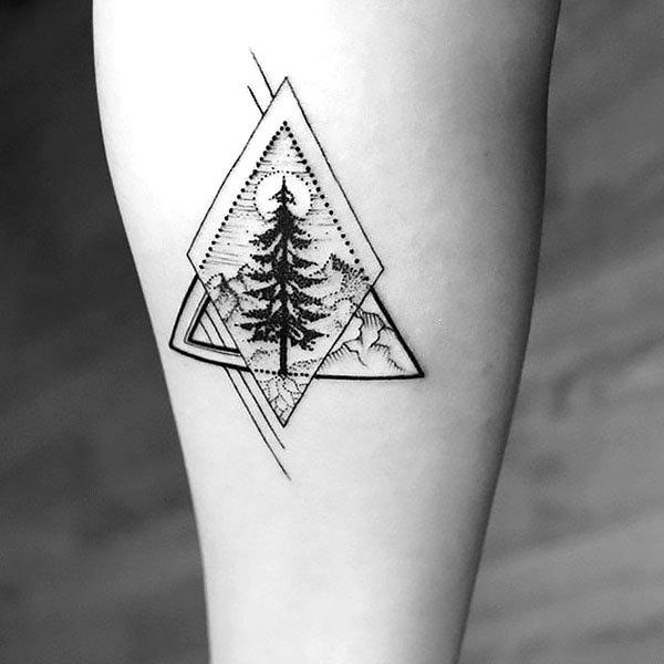 Geometric Tree Tattoo on Forearm Tattoo Idea