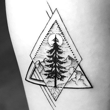 Geometric Tree Tattoo on Forearm Tattoo