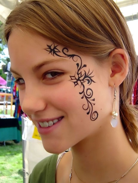 Girl Face Tattoo Idea