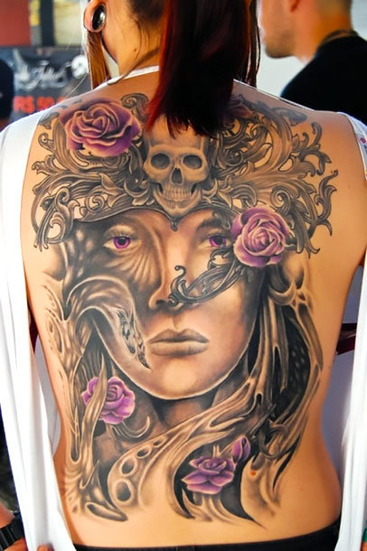 Girl Face on Back Tattoo Idea