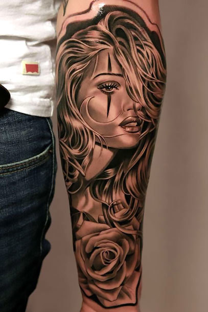 Girl Face on Forearm Tattoo Idea