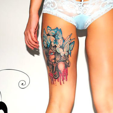 Girl on Back Thigh Tattoo