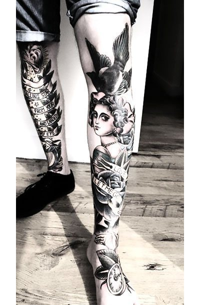 Girl With Bird on Shin Tattoo Idea
