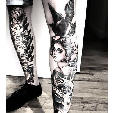 Girl With Bird on Shin Tattoo