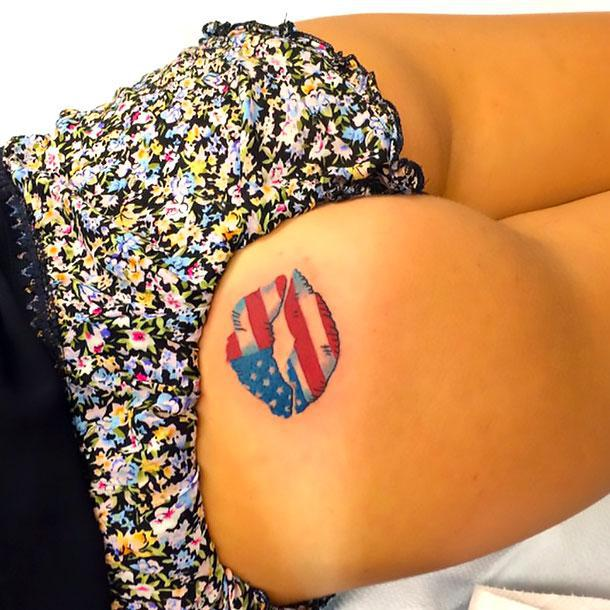 American Flag Lips On Butt Tattoo Idea
