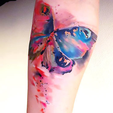 Gorgeous Watercolor Butterfly Tattoo
