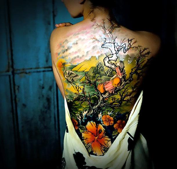 Great Back Tattoo Idea