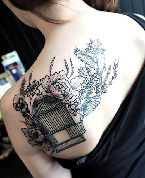 Great Birdcage on Shoulder Blade Tattoo Idea