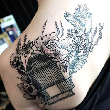 Great Birdcage on Shoulder Blade Tattoo