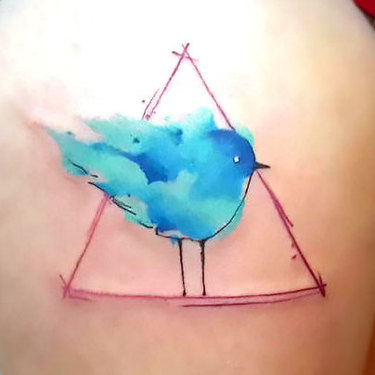 Great Bluebird In Triangle Tattoo