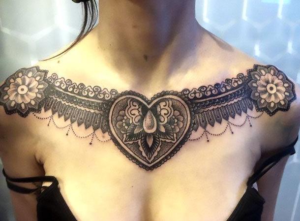 Great Dotwork Piece on Collar Bone Tattoo Idea