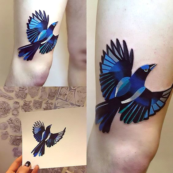 Great Geometric Bluebird Tattoo Idea