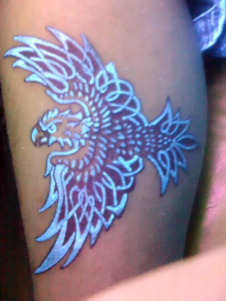 Anazing Blue Ink Eagle Tattoo Idea