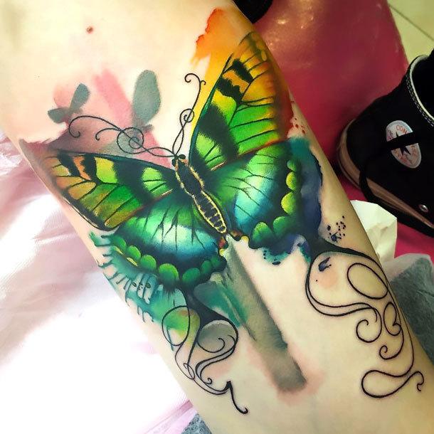 Green Butterfly on Forearm Tattoo Idea