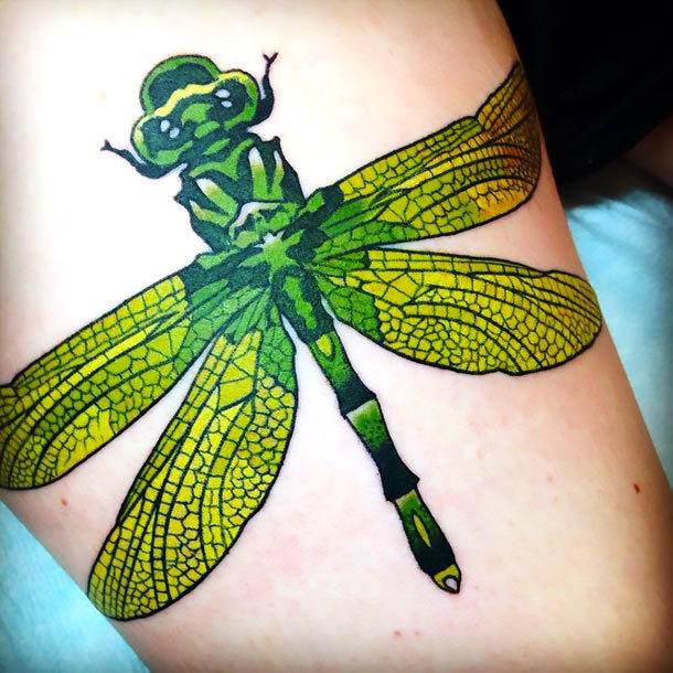 Green Dragonfly Tattoo Idea