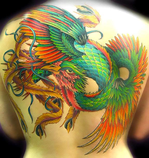 Green Phoenix Tattoo Idea