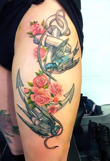 Anchor and Swallows Tattoo Idea