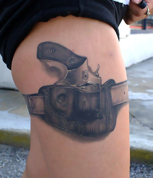 Gun for Men on Thigh Tattoo Idea
