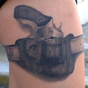 Gun for Men on Thigh Tattoo