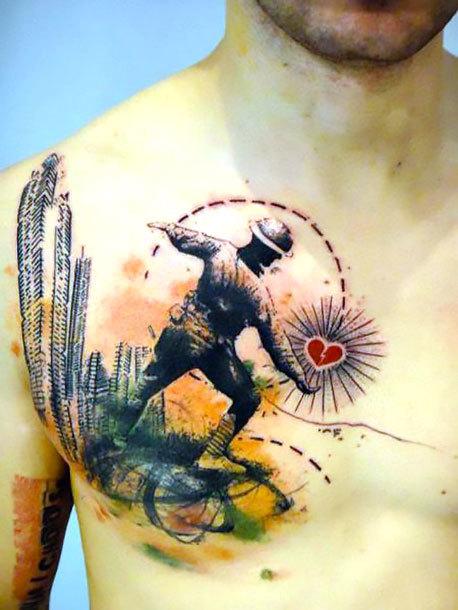 Half Chest Soldier Tattoo Idea