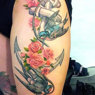 Anchor and Swallows Tattoo