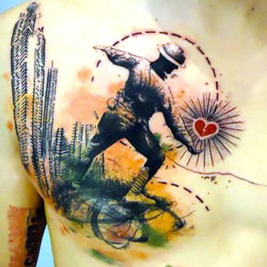 Half Chest Soldier Tattoo