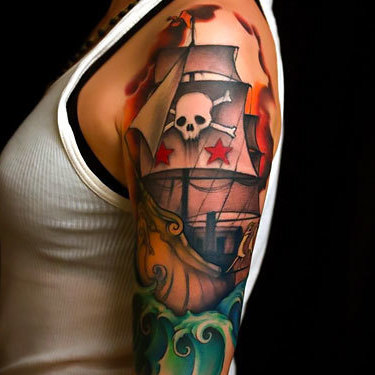 Half Sleeve Pirate Ship for Girl Tattoo