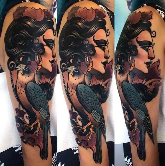 Hawk and Woman Head Tattoo Idea