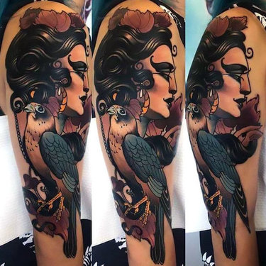 Hawk and Woman Head Tattoo