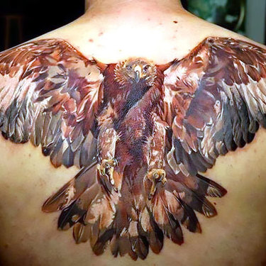 Hawk on Back Tattoo